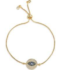 eye candy la women's 18k gold-plated & cubic zirconia evil eye bracelet