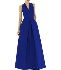 women's alfred sung dupioni pleat a-line gown, size 2 - blue