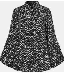 camicetta casual da donna con bottoni a maniche lunghe con risvolto con stampa floreale