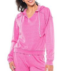 activology women's pullover hoodie tech drawcord - super pink - size xl