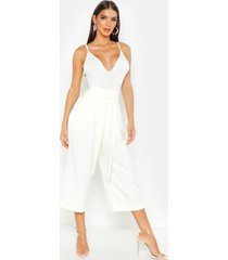 pleated waist wide leg culottes, ivory