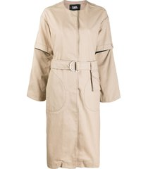 karl lagerfeld button-front trench coat - neutrals