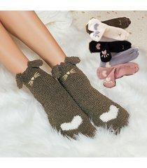 velluto di corallo invernale donna calze calzini di ispessimento di simpatico cartone animato caldo moda tubo centrale casual calze