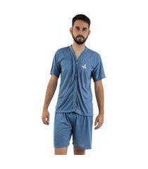 pijama de botáo linha noite azul acinzentado
