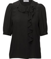 rodebjer xilla silk blouses short-sleeved svart rodebjer