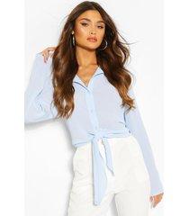 blouse met strik, blauw