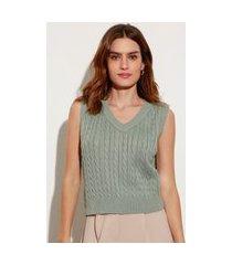 colete de tricô texturizado trança decote v mindset verde claro