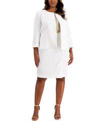 le suit plus size collarless jacquard skirt suit