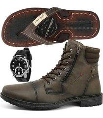 bota coturno casual sapatofran com relógio e chinelo danper masculino