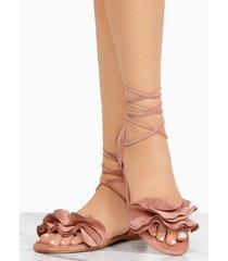 las mujeres planas de encaje hasta vendaje de verano más tamaño sandalias