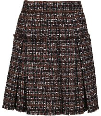 dolce & gabbana black and brown cotton blend skirt