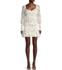 70/21 women's backless puff-sleeve pleated mini dress - ivory - size m