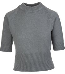 fedeli woman antique green cashmere pullover with half sleeves