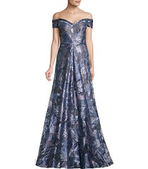 fil coupe off-the-shoulder gown