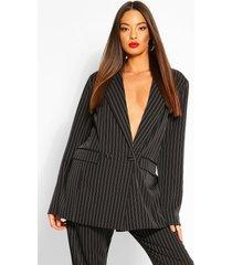oversized dad fit tailored pinstripe blazer, black