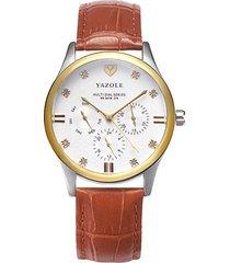 reloj hombres de seis puntas para hombre calendario-marrón