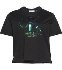 plus iridescent ck straight tee t-shirts & tops short-sleeved svart calvin klein jeans