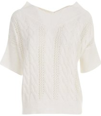 antonelli v neck s/s sweater w/braids