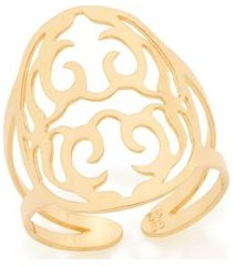 anel ajustável detalhes vazados e estilizados rommanel