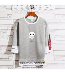 suéter de los hombres de siete puntos mangas otoño coreano de manga larga camiseta suéter delgado de media manga