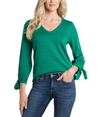 cece tie-sleeve v-neck sweater