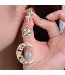 orecchini di stella sole luna di cristallo strass