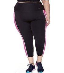 calça legging com proteção solar uv wonder size refletivo com bolso - feminina - preto/rosa