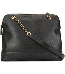 chanel pre-owned 1996-1997 stitched cc logos shoulder bag - black