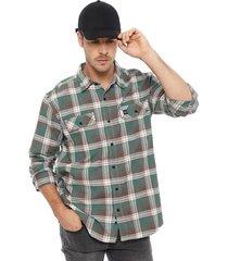 camisa franela oakley verde - calce regular