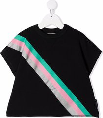 andorine stripe print short-sleeved sweatshirt - black
