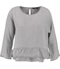 only soepele grijze lyocell denim blouse 3/4 mouw
