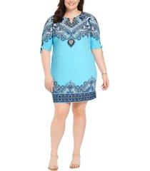 jm collection plus size hardware-trim ruched-sleeve dress