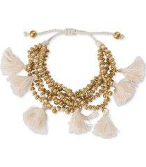 lucky brand gold-tone bead & tassel layered slider bracelet