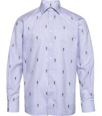 blue striped twill shirt – anubis embroidery skjorta casual blå eton