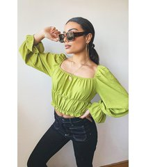 woven shirred ruffle crop top, olive