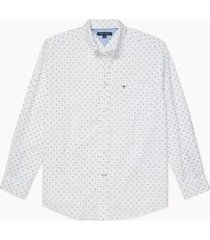tommy hilfiger men's adaptive classic fit leaf print shirt bright white - m