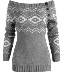 off shoulder button side zig zag geometric sweater