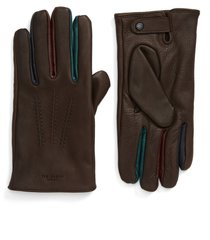 men's ted baker london parm leather gloves, size medium/large - brown