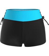plus size lace-up contrast waistband swim boyshorts