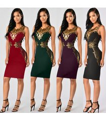 women bandage knee length midi pencil sequined patchwork sexy dress