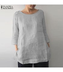 zanzea mujeres o cuello ocasional de la camisa llanura tops de split hem de gran tamaño de la blusa del tamaño extra grande -gris claro