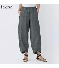 zanzea elástico de las mujeres de la cintura de los pantalones largos ocasionales del harem pantalones holgados asin -negro