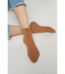 calzedonia short ribbed socks with cotton and cashmere woman brown size 39-41