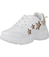 zapatilla chunky estrellas teen blanca corona