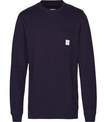 square pocket sweatshirt sweat-shirt trui blauw makia