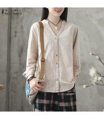 zanzea algodón de la vendimia tapas de la camisa de la raya de las mujeres abajo de los botones casual camisa de la blusa tops -beige