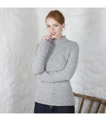 ladies trellis irish sweater gray large