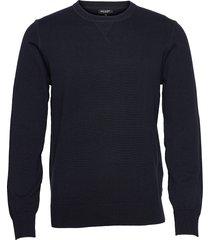 army pullover in cotton cashmere stickad tröja m. rund krage blå ron dorff