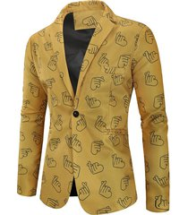 valentine's day finger heart print casual blazer