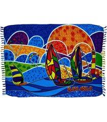 canga de praia bali beach ilhabela barco a vela multicolorida